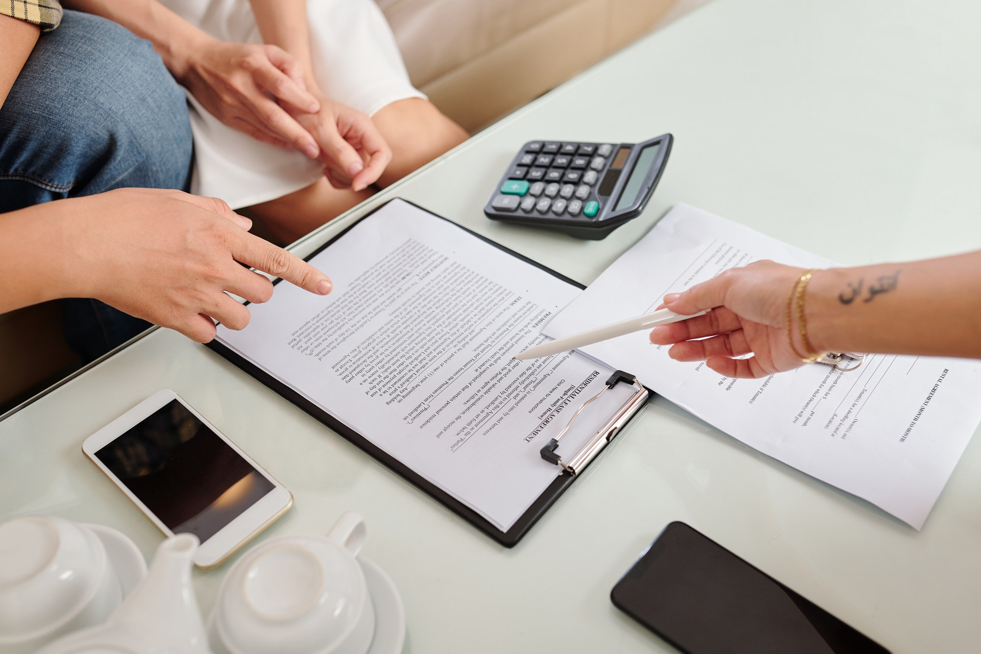 Signing residential lease agreement