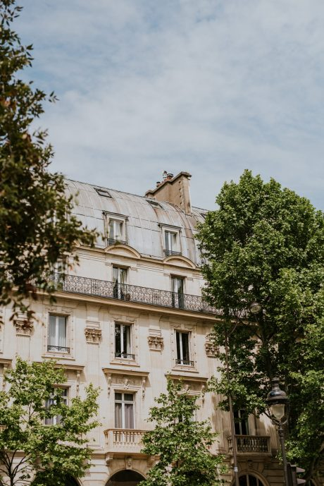 Typical building in Paris with gray rooftops